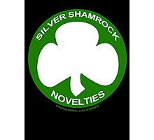 Silver Shamrock Novelties (SSN) Shirt - Traditional White Shamrock Design Photographic Print