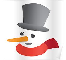 Cute snowman smiling with a top hat Poster