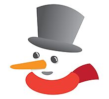 Cute snowman smiling with a top hat Photographic Print