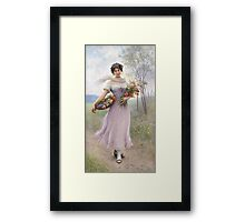 Girl in a Lilac-Coloured Dress with Bouquet of Flowers - Eugene de Blaas Framed Print