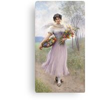 Girl in a Lilac-Coloured Dress with Bouquet of Flowers - Eugene de Blaas Canvas Print