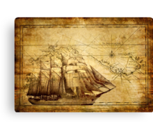 Old Ship Map Canvas Print