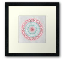 Teal & Coral Glow Medallion Framed Print
