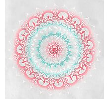 Teal & Coral Glow Medallion Photographic Print