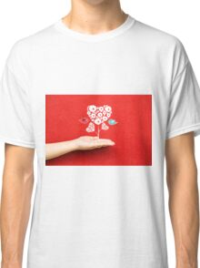 tree hearts and couple birds on a hand Classic T-Shirt