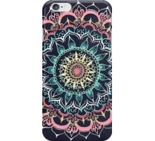 Pink, Cream & Soft Turquoise Glow Medallion on Navy iPhone Case/Skin