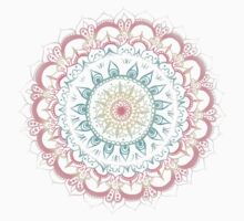 Pink, Cream & Soft Turquoise Glow Medallion on Navy Kids Clothes