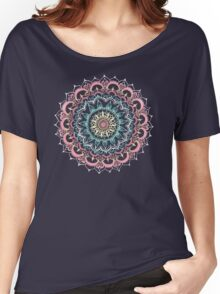 Pink, Cream & Soft Turquoise Glow Medallion on Navy Women's Relaxed Fit T-Shirt