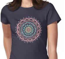 Pink, Cream & Soft Turquoise Glow Medallion on Navy Womens Fitted T-Shirt