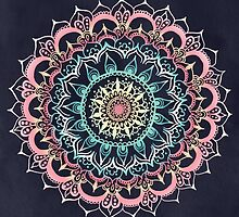 Pink, Cream & Soft Turquoise Glow Medallion on Navy by Tangerine-Tane