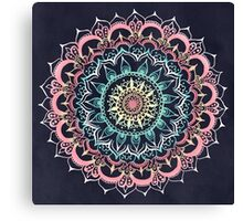 Pink, Cream & Soft Turquoise Glow Medallion on Navy Canvas Print