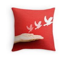 white pigeon and freedom Throw Pillow