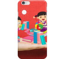 kids studying book on a hand iPhone Case/Skin