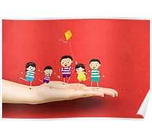 Little children kites on a hand Poster