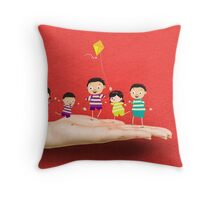 Little children kites on a hand Throw Pillow