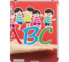 happy Kids Playing with letter and on hand iPad Case/Skin