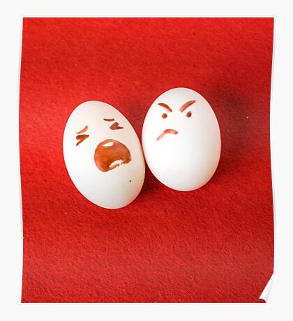 Funny easter emotion eggs isolated on red, love happy eggs couple Poster