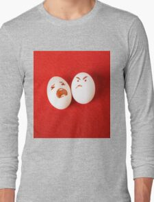 Funny easter emotion eggs isolated on red, love happy eggs couple Long Sleeve T-Shirt