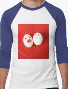 Funny easter emotion eggs isolated on red, love happy eggs couple Men's Baseball ¾ T-Shirt