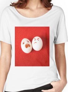 Funny easter emotion eggs isolated on red, love happy eggs couple Women's Relaxed Fit T-Shirt