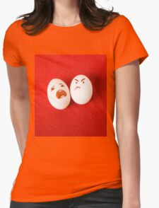 Funny easter emotion eggs isolated on red, love happy eggs couple Womens Fitted T-Shirt