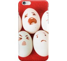 Funny easter emotion eggs isolated on red, love happy eggs couple iPhone Case/Skin
