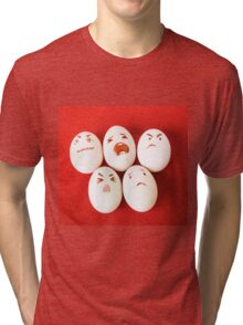 Funny easter emotion eggs isolated on red, love happy eggs couple Tri-blend T-Shirt