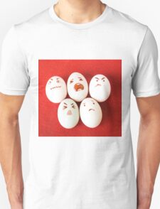 Funny easter emotion eggs isolated on red, love happy eggs couple Unisex T-Shirt