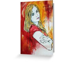 Stencil/Mixed Media Girl Greeting Card