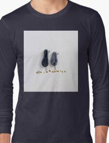 Bird says 'tweet' - Blue sparkle glazed ceramic  Long Sleeve T-Shirt