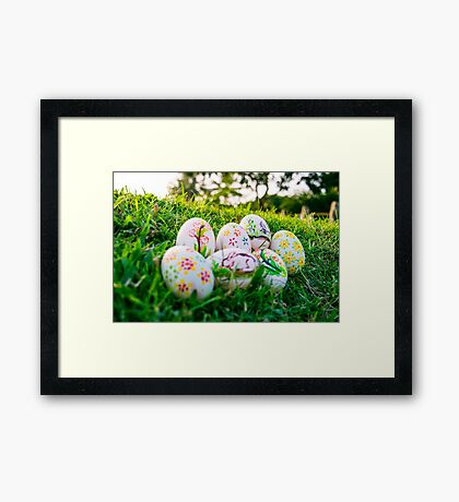 Colorful Easter eggs in a field of grass Framed Print
