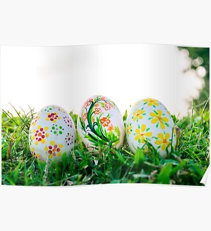 Row of Easter Eggs with Daisy on Fresh Green Grass Poster