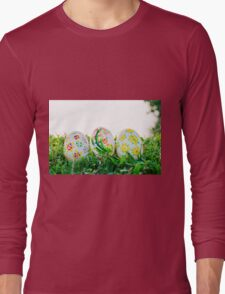 Row of Easter Eggs with Daisy on Fresh Green Grass Long Sleeve T-Shirt
