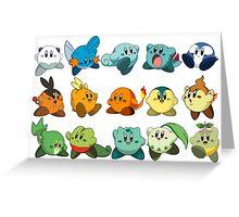 Pokemon Starters Kirby Greeting Card