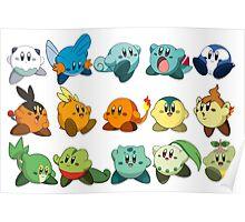 Pokemon Starters Kirby Poster