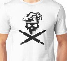 Black Baker Skull and Rolling Pins Unisex T-Shirt