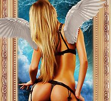 Hot girl with wings in a frame by dopenation