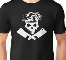 White Chef Skull and Meat Cleavers Unisex T-Shirt