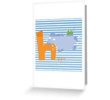 h for hippo Greeting Card