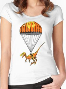 Parachuting Raptor Women's Fitted Scoop T-Shirt