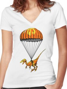 Parachuting Raptor Women's Fitted V-Neck T-Shirt