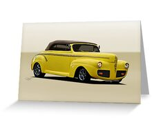 1941 Ford Custom Convertible Coupe Greeting Card