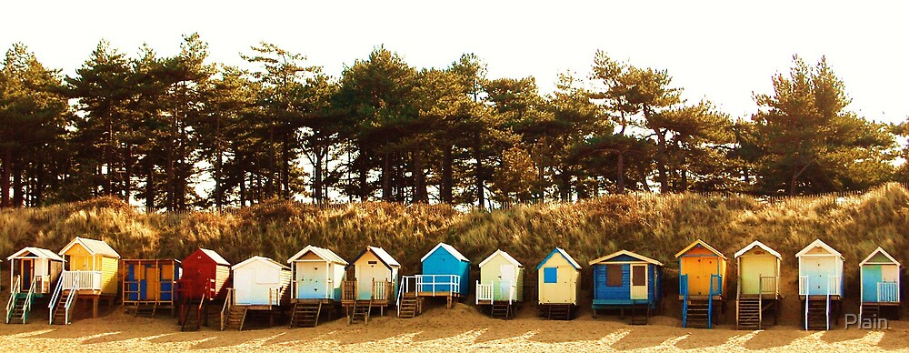 Beach Huts at Wells next the sea. by Plain