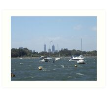 The Swan River On A Windy Day. Crawley. Art Print