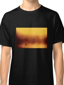 Lone fisher boat floating in fog Classic T-Shirt