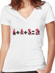 Baseball double play: 6+4+3=2 Women's Fitted V-Neck T-Shirt