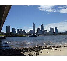 Perth Skyline. Point Belches(Under The Narrows Bridge.) South Perth. Photographic Print
