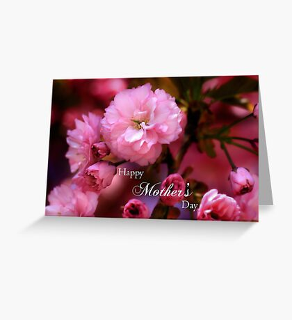 Happy Mothers Day Spring Pink Cherry Blossoms Greeting Card