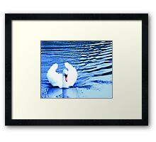 Swan in Blue Framed Print