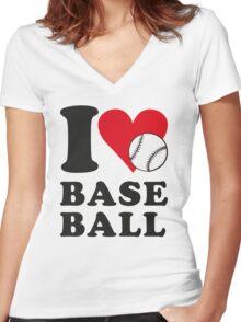 I love baseball Women's Fitted V-Neck T-Shirt